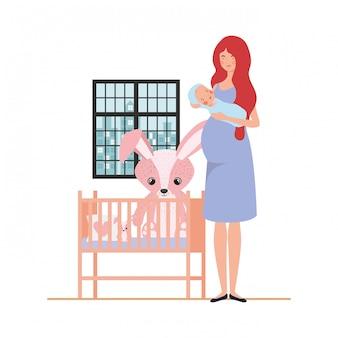 Isolierte mutter mit baby