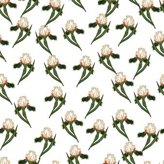 Isolierte nahtlose doodle-muster mit zufälligen kleinen grünen iris-blumen-ornament. weißer hintergrund. vektorillustration für saisonale textildrucke, stoffe, banner, hintergründe und tapeten.