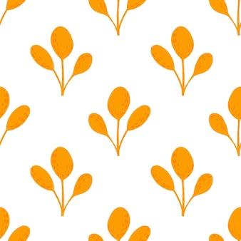 Isolierte nahtlose einfaches muster mit leuchtend orangefarbenen einfachen blattsilhouetten. weißer hintergrund. botanische kulisse. abbildung auf lager. vektordesign für textilien, stoffe, geschenkpapier, tapeten.