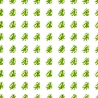 Isolierte nahtlose muster mit kleinen grünen monstera verlässt elemente. weißer hintergrund.