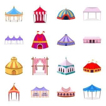 Isolierte objekt der markise und shelter-logo. set aus markise und baldachin