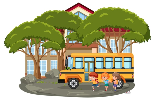 Isolierte outdoor-schulszene mit vielen kindern und schulbus