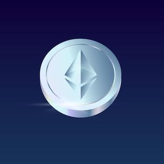 Isolierte realistische ethereum-münze