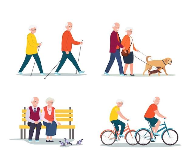 Isolierte reihe von älteren frauen und männern zu fuß, fahrrad fahren, auf der bank sitzend.