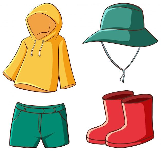 Isolierte reihe von kleidern