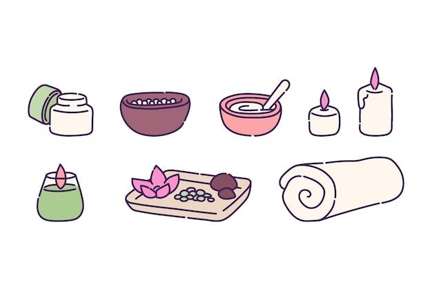 Isolierte reihe von symbolen für spa-behandlungen