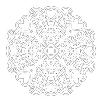 Isolierte schöne monochrome lineare muster für valentinstag malbuchseite mit herzformen