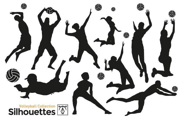 Isolierte silhouetten des volleyball. spieler, die sport treiben.