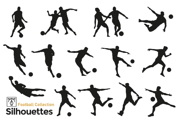 Isolierte silhouetten von fußballspielern. spieler in verschiedenen positionen spielen ball.