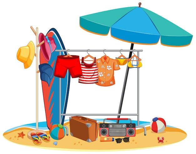 Isolierte sommerkleidung, die draußen hängt