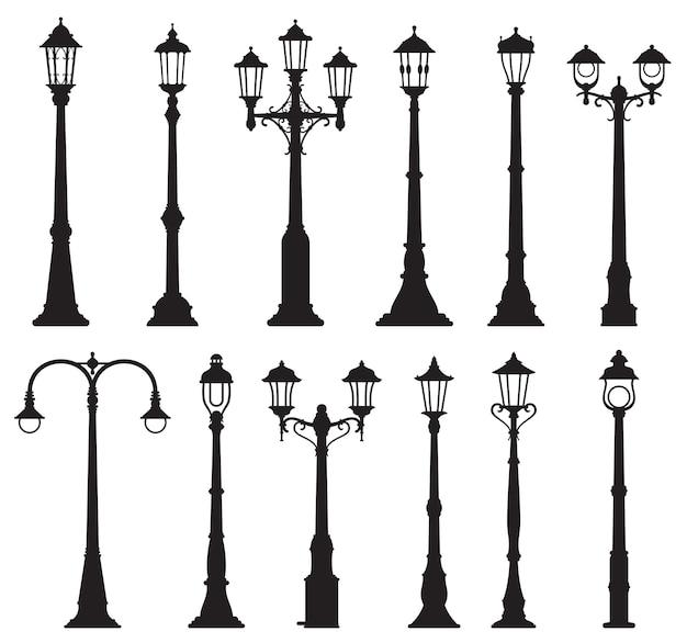 Isolierte straßenlaternen, vintage laternenpfahl oder straßenlaterne und laternen, vektor-silhouette-symbole. alte straßenlaternensäulen, retro-laternenmasten oder stadtbeleuchtungslaternen mit gas- oder glühbirnen