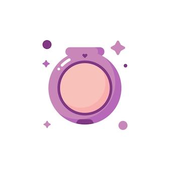 Isolierte süße make-up-gesichtspuder-icon-set-sammlung