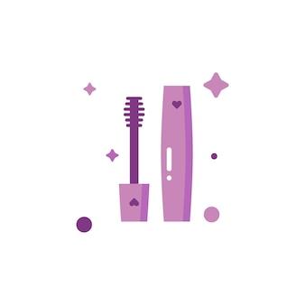Isolierte süße make-up-mascara-icon-set-sammlung