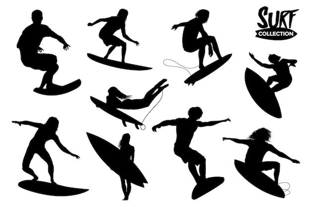 Isolierte surfer-silhouetten-sammlung. grafische ressourcen.