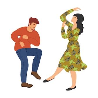 Isolierte tanzende menschen. paar im tanz. nette illustration des vektorhandabgehobenen betrages