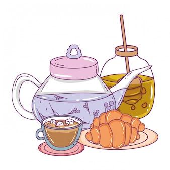 Isolierte teekanne und brot