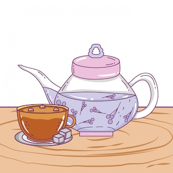 Isolierte teekanne und kaffeetasse