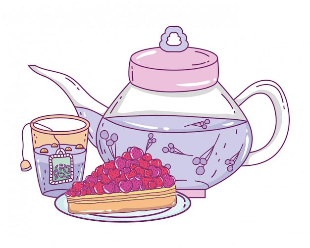 Isolierte teekanne und kuchen