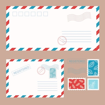 Isolierte umschläge mit briefmarken und siegeln im flachen stil