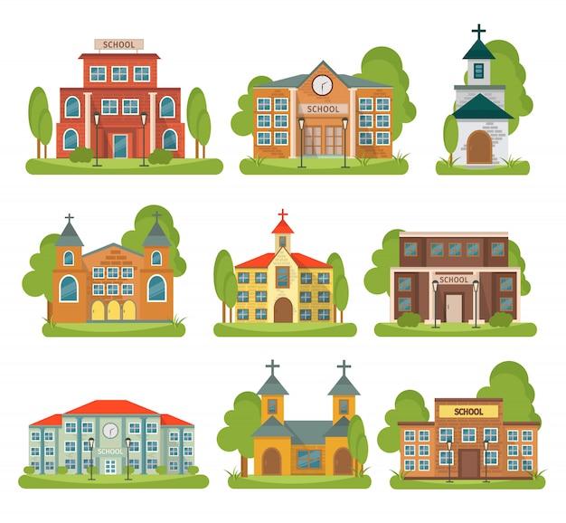 Isolierte und farbige gebäude-schulkirche mit verschiedenen arten und zwecken für gebäude