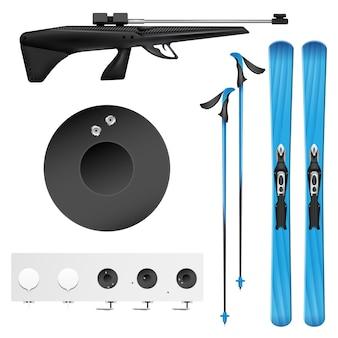 Isolierte und farbige realistische biathlonikone, gesetzt mit werkzeugen und ausrüstung des biathlonisten