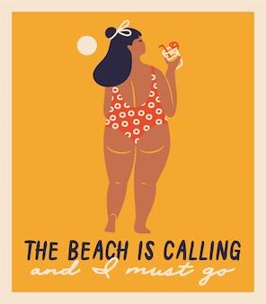 Isolierte vektor handgezeichnete frauen am strand. lustige illustrationen für design.