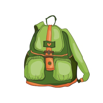 Isolierte vektor-illustration des grünen sport-frauen-rucksacks im romantischen stadtstil