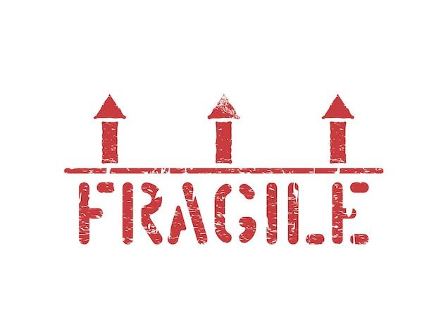 Isolierte zerbrechliche grunge rotes vektor-box-zeichen-piktogramm mit pfeilen nach oben