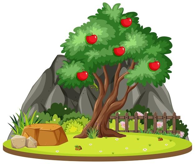 Isolierter apfelbaum in der natur