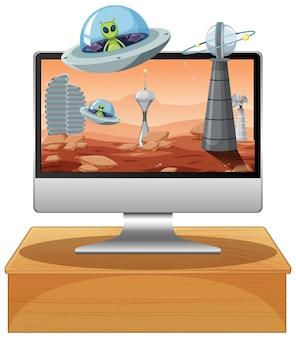 Isolierter computer auf dem tisch mit desktop-hintergrund des raumthemas