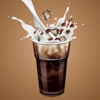 Isolierter kalter latte mit milch, die in 3d-darstellung in eine tasse zum mitnehmen gießt