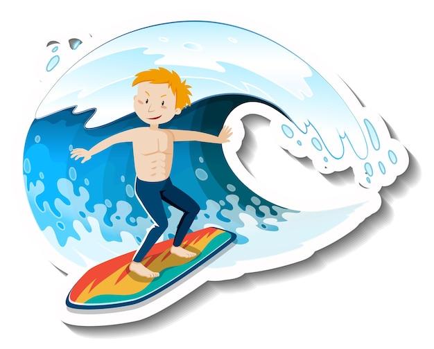 Isolierter mann, der mit ozeanwelle surft