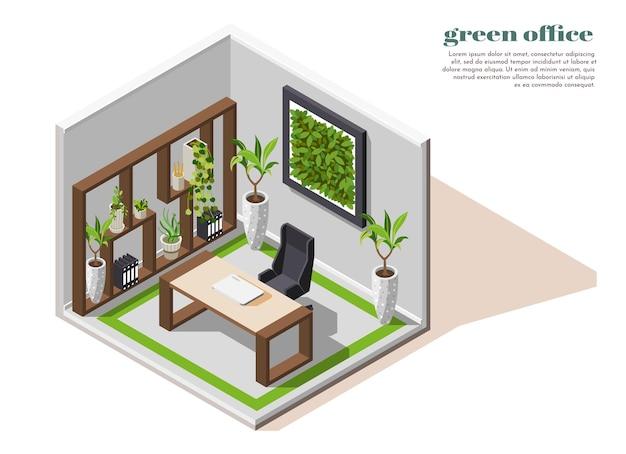 Isolierter raum des grünen büros isometrischer farbiger zusammensetzung mit ökologieausrüstung der grünen pflanzen