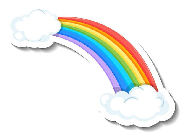 Isolierter regenbogen mit wolkenkarikaturaufkleber