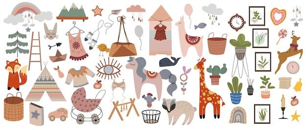 Isolierter satz von niedlichen boho-babyobjekten im skandinavischen stil