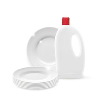 Isolierter sauberer plattenstapel mit reinigerflaschenmodell