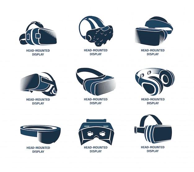 Isolierter vr-headset-logosatz. virtual reality helm logo. auf dem kopf montierte display-symbolsammlung. gerät. futuristisches spielelement. simulation smartglasses illustration.