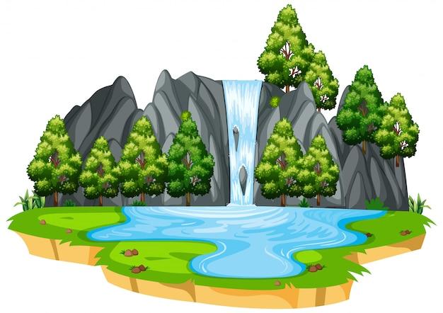Isolierter wasserfall in der natur