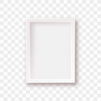 Isolierter weißer bilderrahmen mit realistischem schatten
