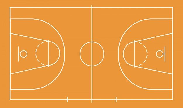 Isoliertes basketballfeld für ballspiel auf dem feld in orange. leistungssport auf der baustelle. stadion mit markierungen. aktiengrafiken. planen einer strategie für websites und anwendungen.