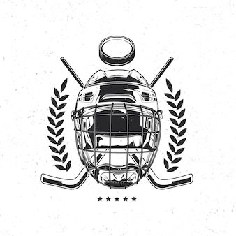 Isoliertes emblem mit illustration der hockeymaske, der hockeyschläger und des pucks
