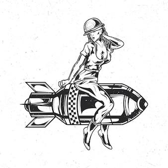 Isoliertes emblem mit illustration des mädchens, das auf der bombe sitzt