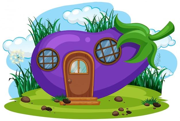 Isoliertes fantasie-auberginenhaus