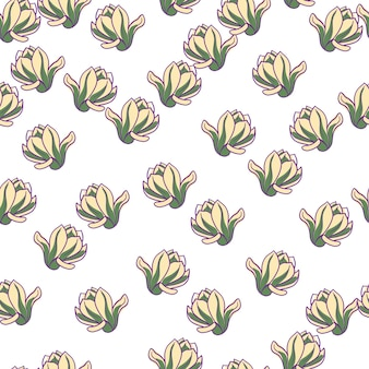 Isoliertes nahtloses muster mit zufälligen magnolienblumenelementen. weißer hintergrund. einfacher stil. vektorillustration für saisonale textildrucke, stoffe, banner, hintergründe und tapeten.