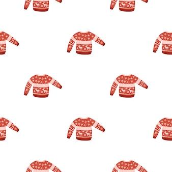 Isoliertes nahtloses wintermuster mit roter pulloververzierung. weißer hintergrund. eben