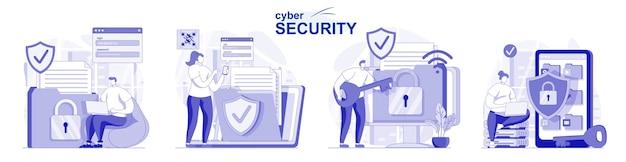 Isoliertes set für cyber-sicherheit in flachem design personen, die den online-schutz des sicherheitskontos verwenden