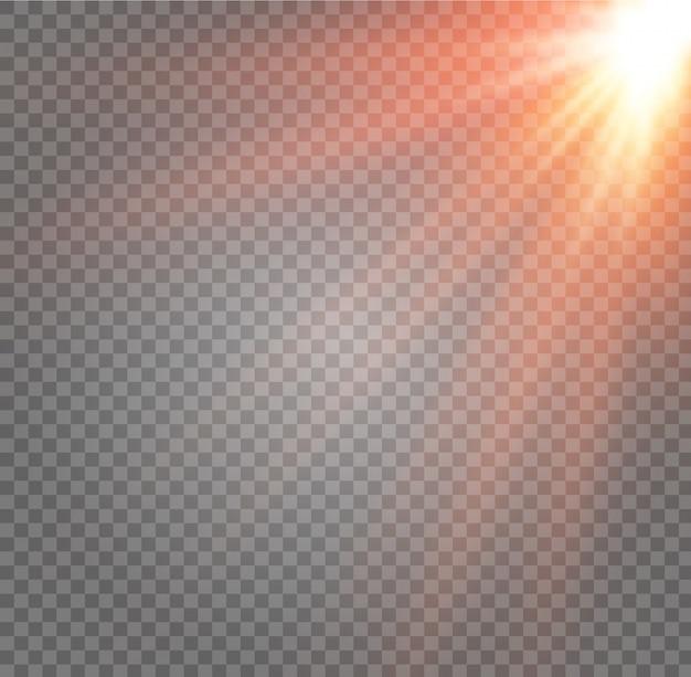 Isoliertes sonnenlicht transparent. licht der ausstrahlung.