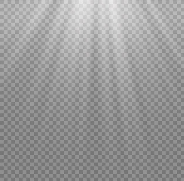 Isoliertes weißes sonnenlicht transparent. licht der ausstrahlung.