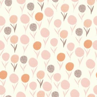 Isoliertes zufälliges nahtloses sommermuster mit löwenzahnfiguren. rosa, orange und lila blumen auf weißem hintergrund.