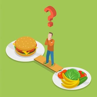Isometeric vektor der gesundheit oder der ungesunden fertigkost.